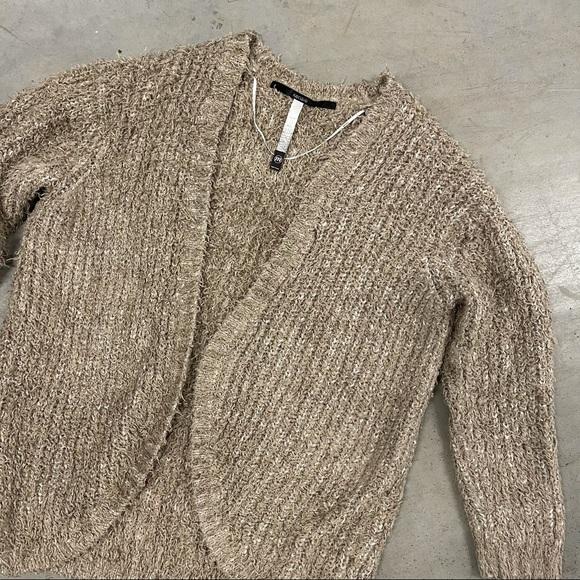 Kensie Sweaters - Kensie Tan Boucle Teddy Knit Open Cardigan Sweater